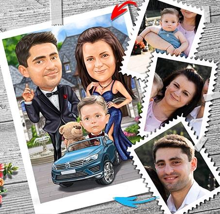Карикатура по снимки на няколко човека мъже жена и дете