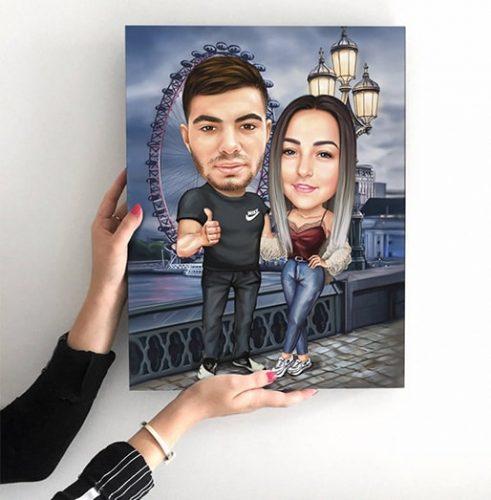 Дигитална карикатура подарък за мъж и жена
