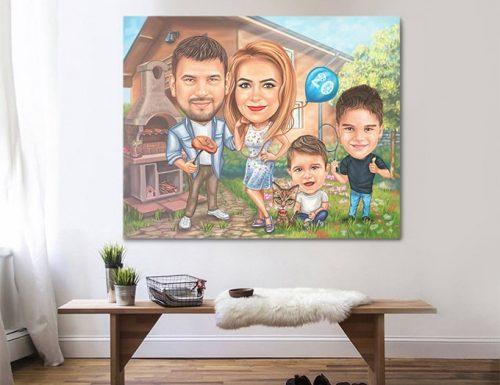СЕмейна карикатура мъже жена и две момченца