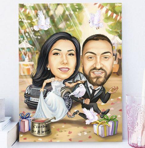Сватбена карикатура с младоженци
