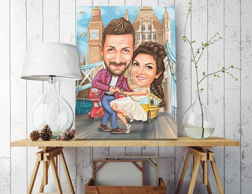 Карикатура за влюбени мъж и жена колаж