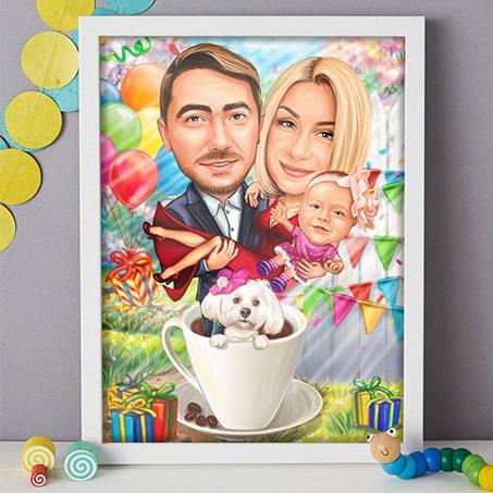 Семейна карикатура подарък за рожден ден